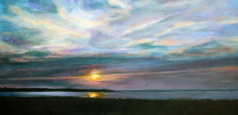 "View from Saquish, 12""x24""x1.5"" Acrylic on Canvas"